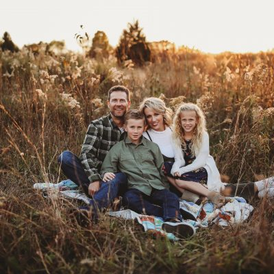 family time sunset meadow